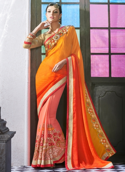 georgette-embroidered-work-party-wear-saree-orange-9507