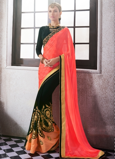 georgette-embroidered-work-party-wear-saree-orange-9513