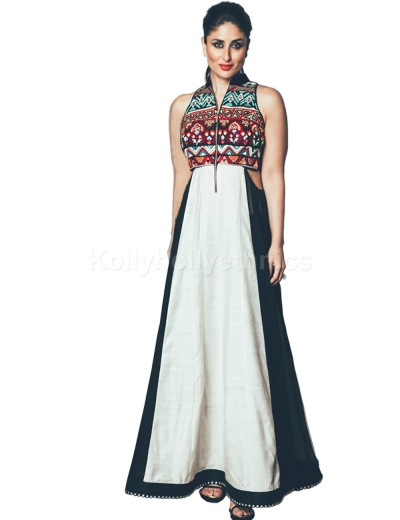 Bollywood Style Kareena kapoor white and black raw silk kurti