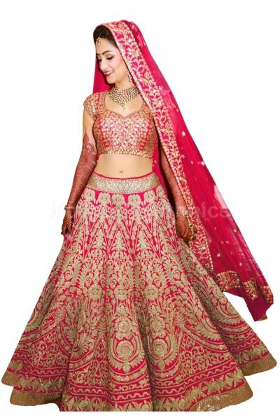Bollywood model pink color raw silk wedding lehenga choli