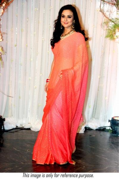 Bollywood style Priety Zinta silk georgette two tone saree