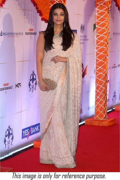Bollywood style Aishwarya rai white colour georgette saree
