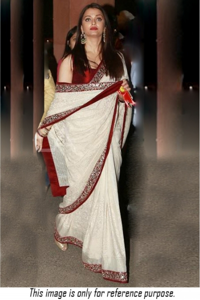 Bollywood style Aishwarya rai white and red colour georgette saree
