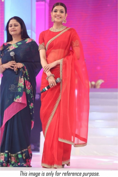 Bollywood style Kajal Aggarwal red colour satin georgette saree