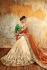 Chandan silk orange and beige color designer wedding wear saree