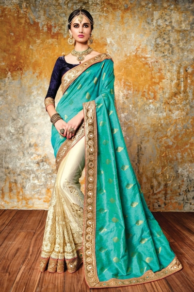 Chandan silk blue and beige color designer wedding wear saree