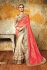 Chandan silk carrot pink and beige color designer wedding wear saree