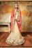 Chandan silk carrot pink and beige color designer wedding wear saree