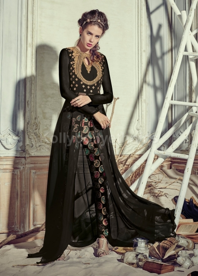742a622093 Buy Stunning black color georgette pant style party wear salwar ...