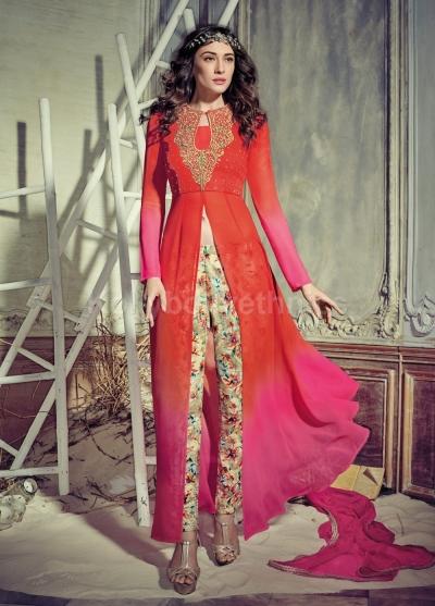 b0b73092c5 Stunning orange and pink color georgette pant style party wear salwar kameez