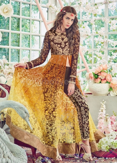 8ad1cd7f90 Stunning yellow and brown color brasso pant style party wear salwar kameez