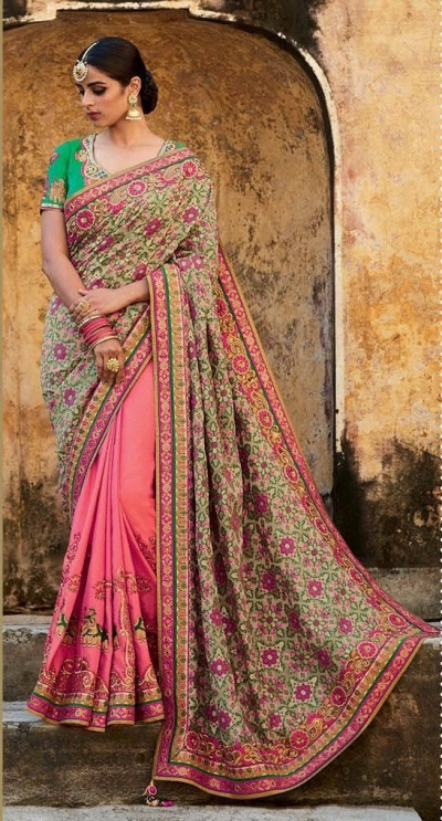 Beige and pink jacquard silk bridal saree