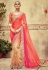 Cream and fuchsia viscose georgette designer party wear saree