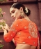 Cream and red color art dhupion silk designer party wear saree