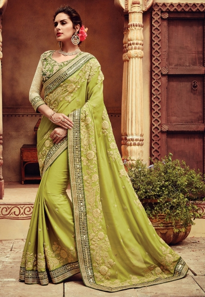Olive green color viscous georgette designer party wear saree