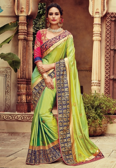 Green and yellow shaded art silk designer party wear saree