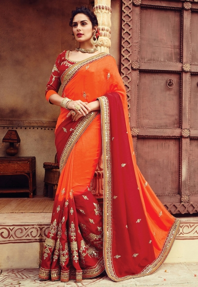 Orange and red color art dhupion silk designer party wear saree