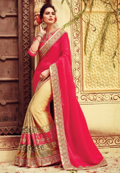 Fuchsia color crepe silk designer party wear saree
