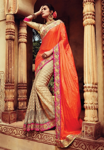 Orange and beige crepe silk designer party wear saree