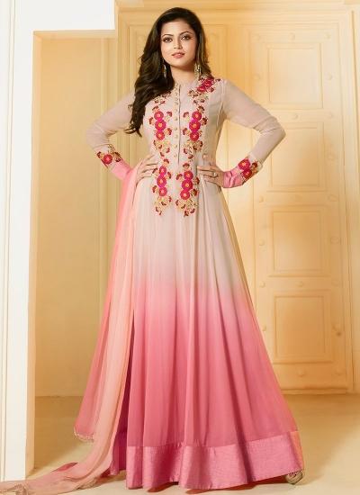 Drashti Dhami  Beige and pink georgette party wear salwar kameez