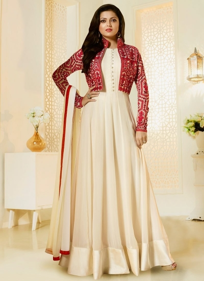 Drashti Dhami  beige color georgette jacket style party wear salwar kameez