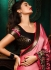 Onion pink and black color satin designer party wear saree