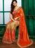 Orange colour georgette with silk chiffon designer party wear saree