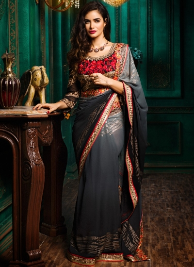 Grey to black colour shaded georgette designer party wear saree