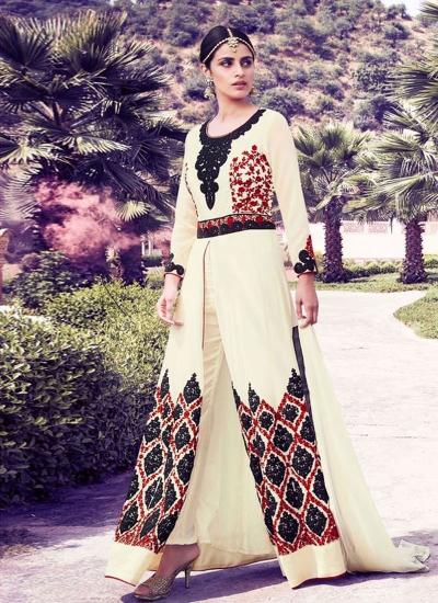 Cream color georgette party wear salwar kameez