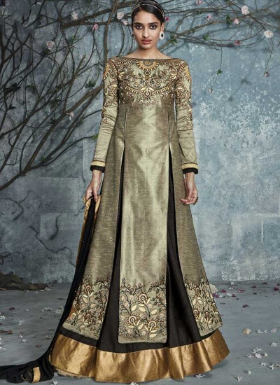 Grey and brown color silk party wear lehenga kameez