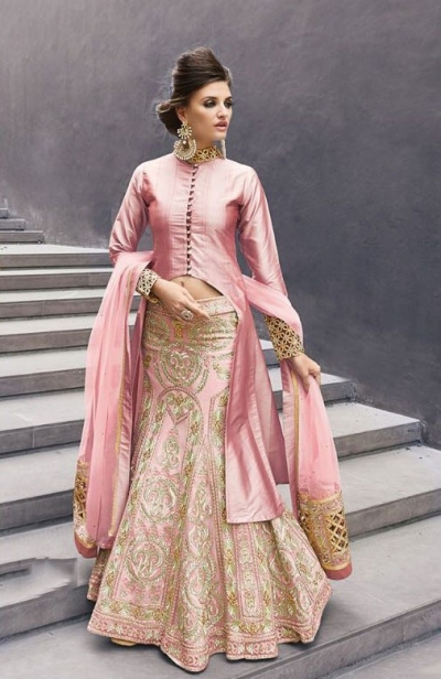 Onion color georgette party wear lehenga choli 2-in-1 style