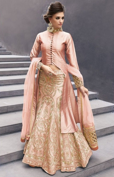 Peach color georgette party wear lehenga choli 2-in-1 style