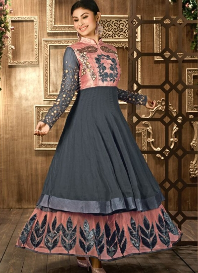 Grey colour georgette double layered anarkali