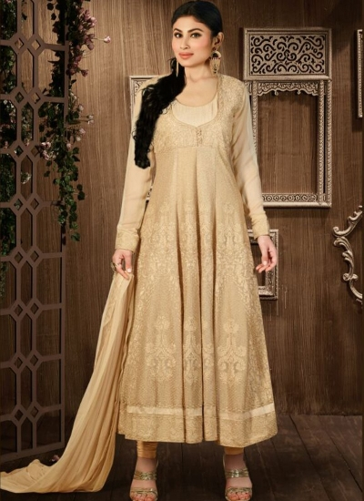 Beige and Gold color georgette party wear anarkali
