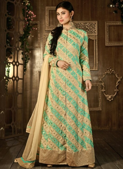 Beige and green color georgette embroidered party wear anarkali