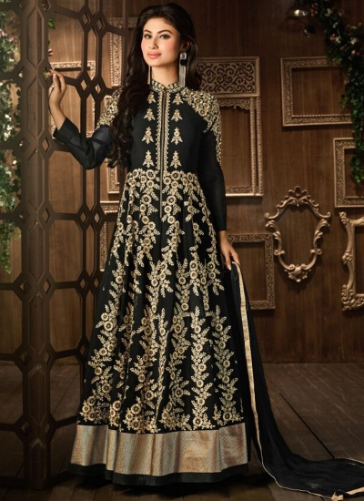 Black and gold color georgette embroidered party wear anarkali