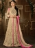 Beige and pink color net embroidered party wear anarkali