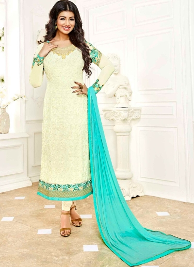 Ayesha Takia Cream and skyblue color georgette salwar kameez