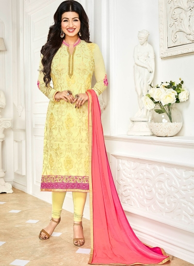 Ayesha Takia Yellow and Pink color georgette salwar kameez