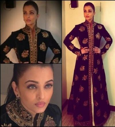 Bollywood style Aishwarya rai black color Joya silk long gown