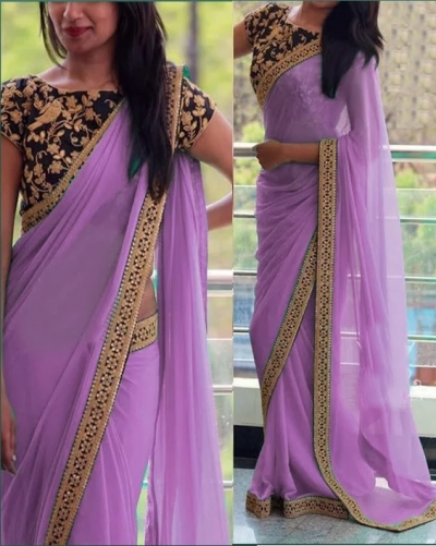 Inspired style violet and black color georgette party wear saree