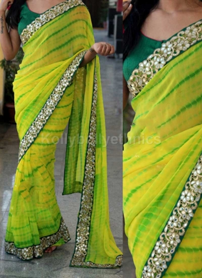 Inspired style yellow and green color sibopi print party wear saree
