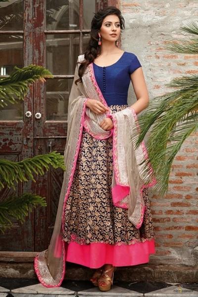 Rakul Preet Blue and pink designer designer Anarkali