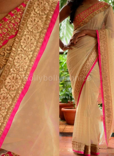 Inspired style off white and pink color georgette party wear saree