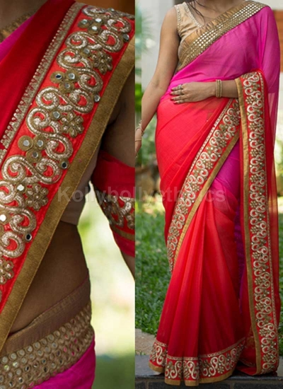 Inspired style Pink and red shaded pedding georgette party wear saree