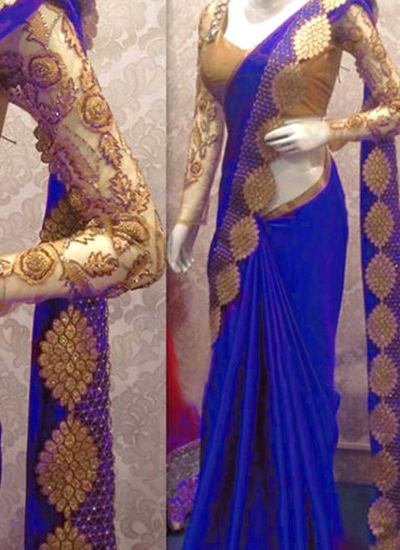 Inspired style royal blue color satin georgette silk party wear saree