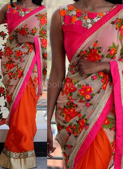 Inspired style off white and Orange color georgette party wear saree