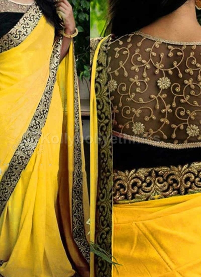 Inspired style Yellow and black color georgette party wear saree