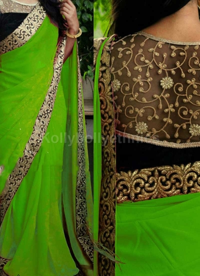 Inspired style Green and black color georgette party wear saree