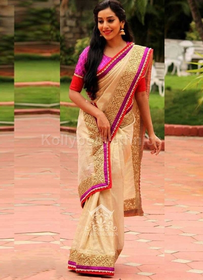 95736cdcd35 Inspired style off white and pink color silk georgette party wear saree